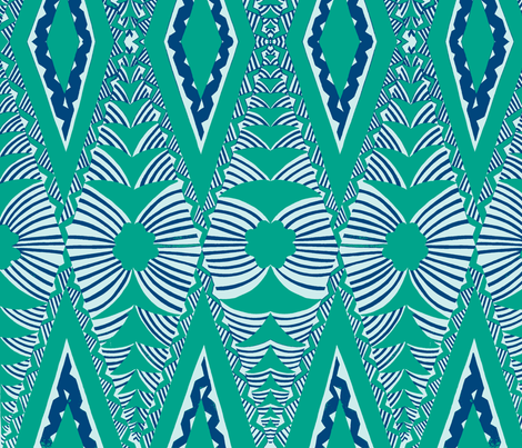 Old School, Tongan tapa, blue fabric by sophista-tiki on Spoonflower - custom fabric