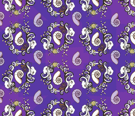 Rococo Octopi in purple fabric by rayne on Spoonflower - custom fabric