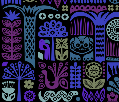 midnight in the jungle fabric by dennisthebadger on Spoonflower - custom fabric