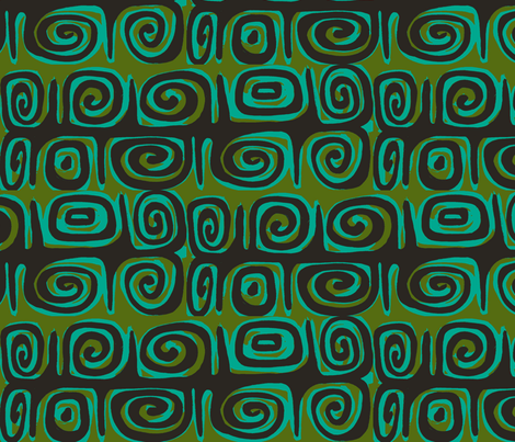 Abstractiva, matuku Strip, black on green fabric by sophista-tiki on Spoonflower - custom fabric