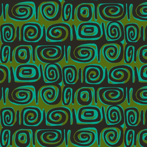 Abstractiva, matuku Strip, black on green