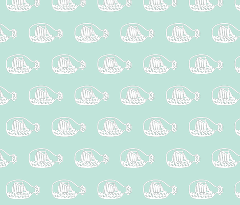 Ship in bottle - light green background fabric by pininkie on Spoonflower - custom fabric