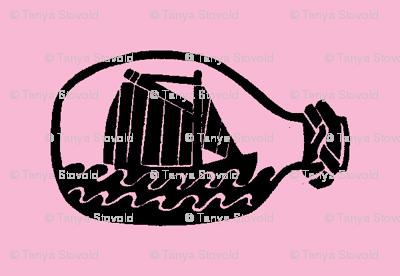 Ship in bottle - light pink background
