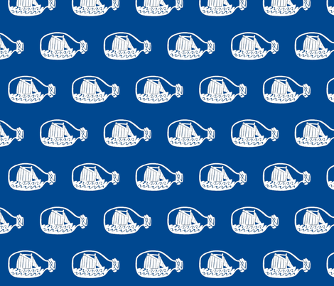 Ship in bottle - blue background fabric by pininkie on Spoonflower - custom fabric