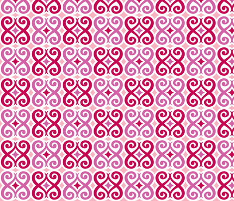 Rococo Love (Pink) fabric by happysewlucky on Spoonflower - custom fabric