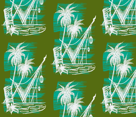 Waikikian glow white on olive fabric by sophista-tiki on Spoonflower - custom fabric