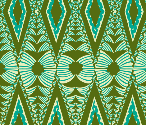 Old School , Tongan Tapa  green fabric by sophista-tiki on Spoonflower - custom fabric