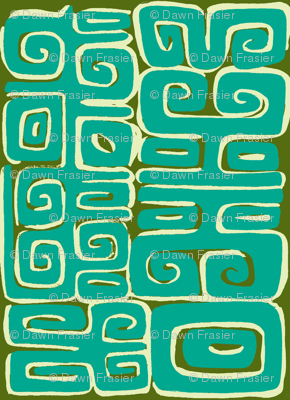 Abstarctiva, Matuku,aqua on green