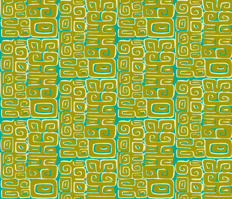 Abstractiva, Matuku, gold on blue fabric by sophista-tiki_by_dawn_frasier on Spoonflower - custom fabric