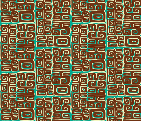 Abstarctiva, Matuku, brown on blue fabric by sophista-tiki_by_dawn_frasier on Spoonflower - custom fabric