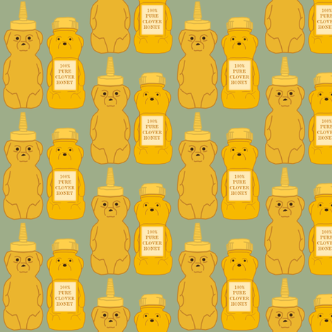 Honey Bears Blue fabric by heidikenney on Spoonflower - custom fabric