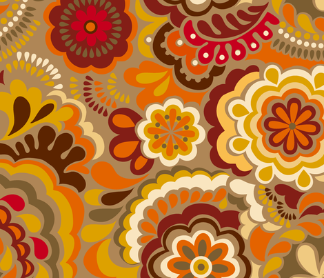 Autumn_Swirls_Big_mustard fabric by chulabird on Spoonflower - custom fabric