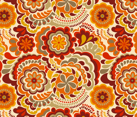 Autumn_swirls_orange fabric by chulabird on Spoonflower - custom fabric