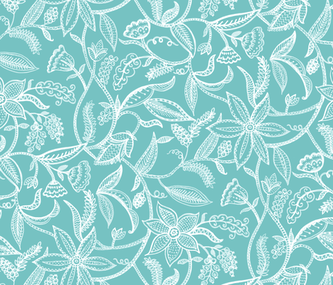 Climbing plants__turq fabric by chulabird on Spoonflower - custom fabric