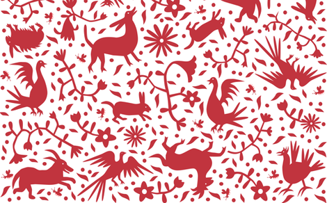 Otomi inspired red fabric by weegeckotoes on Spoonflower - custom fabric