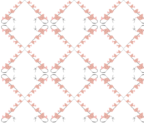 Birds on a line pink fabric by karenharveycox on Spoonflower - custom fabric