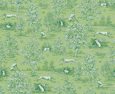 Green Reverse Greyhound Toile ©2010 by Jane Walker