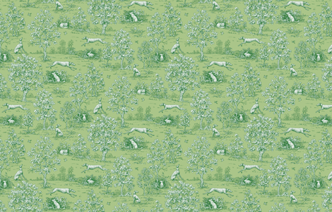 Green Reverse Greyhound Toile ©2010 by Jane Walker fabric by artbyjanewalker on Spoonflower - custom fabric