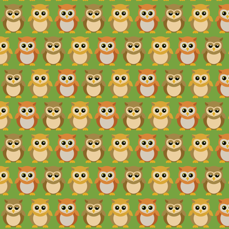(Small) Baby Owl Friends fabric by greencouchstudio on Spoonflower - custom fabric