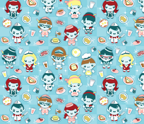 Breakfast at Flo's Diner (large) fabric by greencouchstudio on Spoonflower - custom fabric