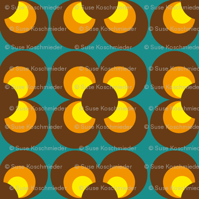 Retro Flower brown orange yellow