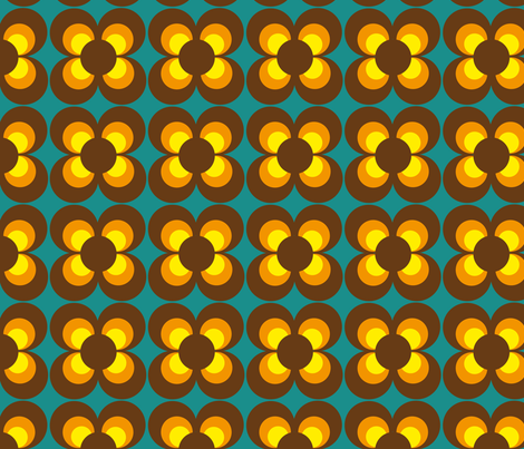 Retro Flower brown orange yellow fabric by heimatkinder on Spoonflower - custom fabric