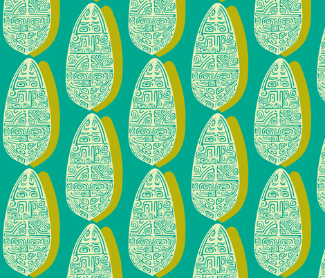 The Polynesian in Aqua fabric by sophista-tiki on Spoonflower - custom fabric
