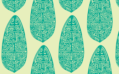Polynesian, turquois fabric by sophista-tiki on Spoonflower - custom fabric