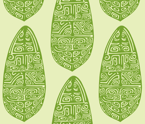 Polynesian, green fabric by sophista-tiki on Spoonflower - custom fabric