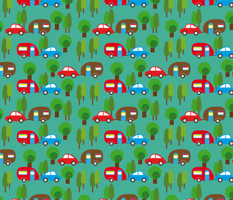 Caravan and Trees fabric by heimatkinder on Spoonflower - custom fabric