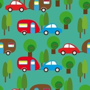 Caravan and Trees