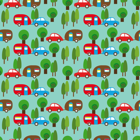 Caravan and Trees lighter fabric by heimatkinder on Spoonflower - custom fabric