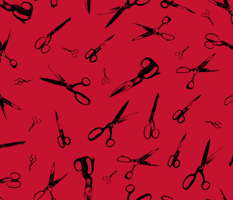 Scissors on Red fabric by candyjoyce on Spoonflower - custom fabric