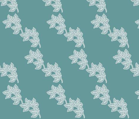 Diagonal-Leaves-White-Outline-6in-Seafoam-TEAL fabric by mina on Spoonflower - custom fabric