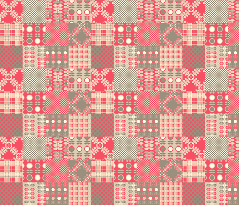 Patchwork in Pink and Grey fabric by nanetteregan on Spoonflower - custom fabric