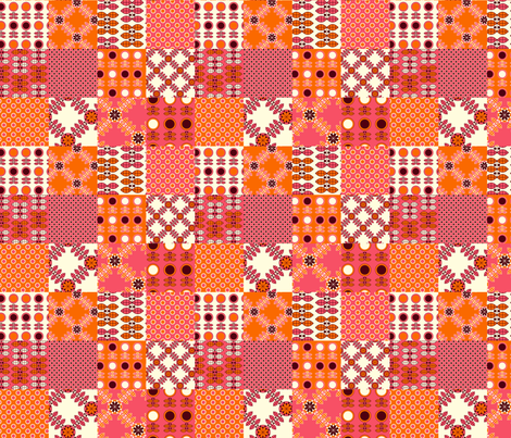 Patchwork in Pink and Orange fabric by nanetteregan on Spoonflower - custom fabric