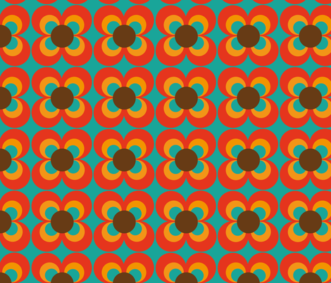 Retro flower turquoise orange brown fabric by heimatkinder on Spoonflower - custom fabric