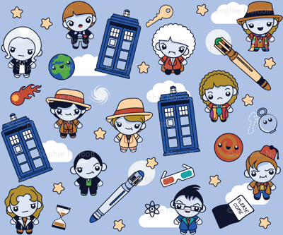 (Large) Eleven Traveling Doctors and Blue Phone Boxes