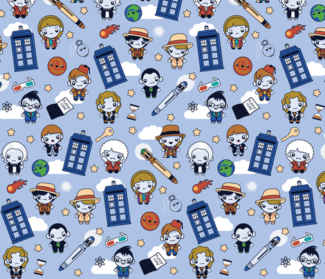 (Large) Eleven Traveling Doctors and Blue Phone Boxes fabric by greencouchstudio on Spoonflower - custom fabric