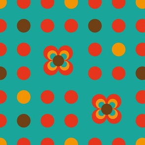 Dots turquoise red brown orange flower retro