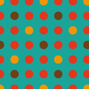 Dots turquoise red brown orange retro