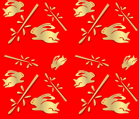 Year of the Rabbit Gold and Red fabric by elledeegee on Spoonflower - custom fabric