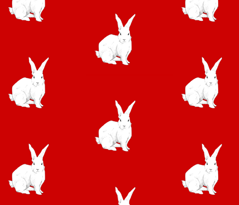 Rabbit red fabric by floating_lemons on Spoonflower - custom fabric
