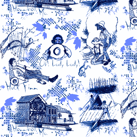 Huckleberry Finn / blue fabric by paragonstudios on Spoonflower - custom fabric