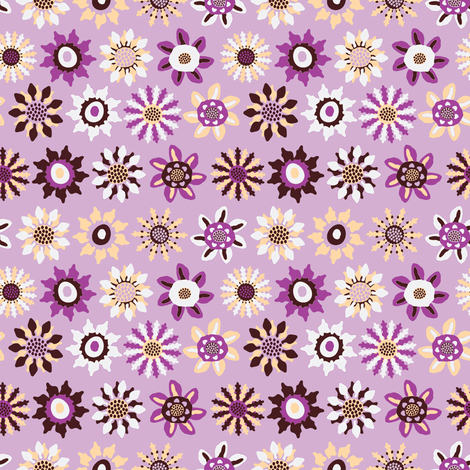 Retro Floral Fabric in Pink by Kezia  fabric by kezia on Spoonflower - custom fabric