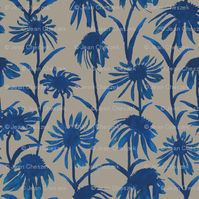 Blue Flowers on Taupe