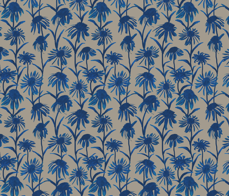 Blue Flowers on Taupe fabric by coloroncloth on Spoonflower - custom fabric