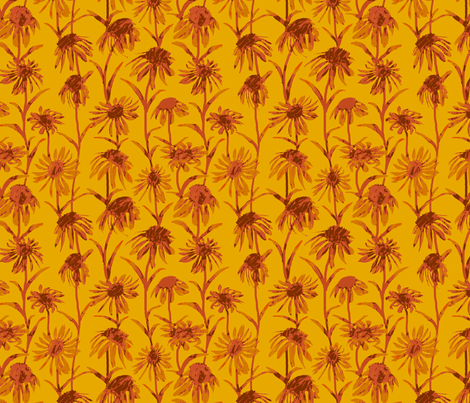 Orange  Flowers - Bright fabric by coloroncloth on Spoonflower - custom fabric