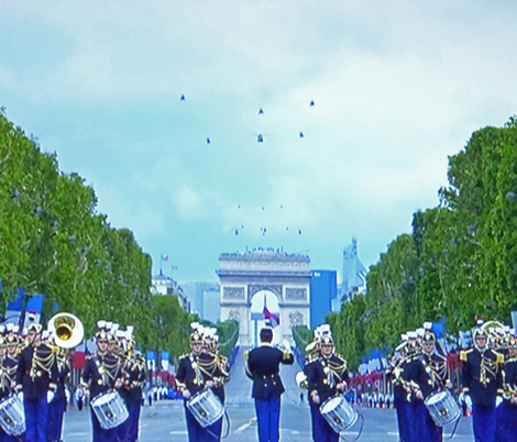 Bastille Day Parade with Helicopter Flyover, Paris 2012 - 2 fabric by susaninparis on Spoonflower - custom fabric