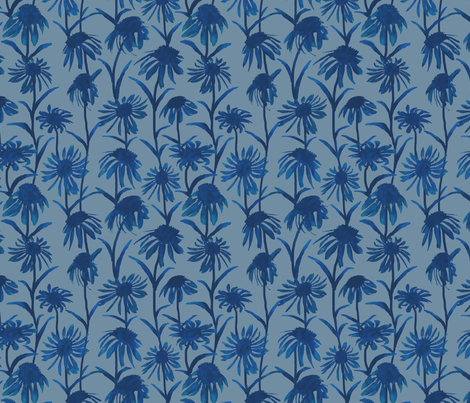 Blue  Flowers fabric by coloroncloth on Spoonflower - custom fabric